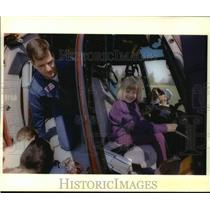 1994 Press Photo Alana Billings sits in helicopter cockpit during school