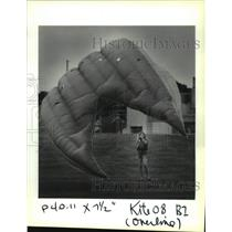 1993 Press Photo Gretchen Wandell holds the reins of a large kite in Bonnabel