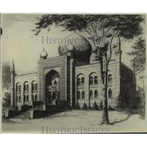 1931 Press Photo Etching of Shriners Mosque on West Wisconsin Avenue by Wil King