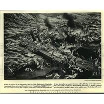 1889 Press Photo Drawing: Floodwaters destroyed Pennsylvania city of Johnstown.