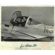 "1970 Press Photo Edward L. ""Ted"" Stowe on his Meyers 145 aircraft, ""Little Guy"""