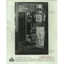 Press Photo Johnny Unitas Display at Pro Football Hall of Fame, Canton, Ohio