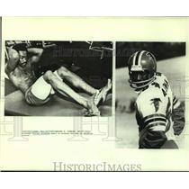 1980 Press Photo Atlanta Falcons Alfred Jenkins in Two Photos - nos19346
