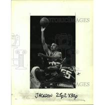 1991 Press Photo Denver Nuggets basketball player Chris Jackson vs. Chicago
