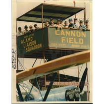 1993 Press Photo Alamo Liaison Group at Cannon Field with Airplane - saa18856