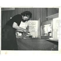1964 Press Photo Student Linda Young Checks Project - RRV58549