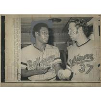 1972 Press Photo Baltimore Players Don Baylors and Pat Dobson. - RSH21971