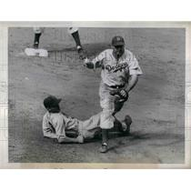 1943 Press Photo Brooklyn's Dodgers Billy Herman And Philadelphia Phillies P May