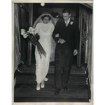1934 Press Photo Charles Devans Ex-Yankee Star Gets Married