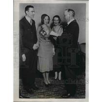 1931 Press Photo Pirates 3rd baseman Pie Traynor wedding day with bride Eva.