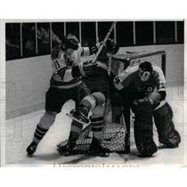 1971 Press Photo Flyer Brent Hughes, B Parent vs Ranger Vic Hadfield