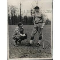 1929 Press Photo J Flanagan & J Welsh at Villanova baseball practice - nea11355