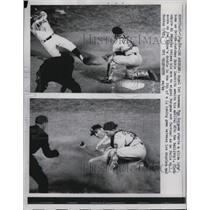 1962 Press Photo Angels Tom Burgess Starts Slide To Home As Orioles Catcher