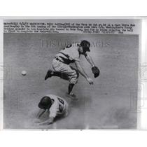 1957 Press Photo Washington Nationals Milt Bolling Out At Second Base