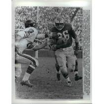 1961 Press Photo Chicago Bears Dave Whitesell Grabs For Ball From Clarence Peaks