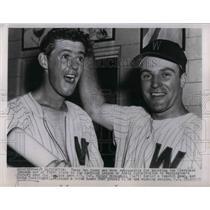 1954 Press Photo Washington Victory over Indians Eddie Yost Mickey McDemott