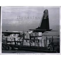 1957 Press Photo Lockheed Hercules Commercial freighter carry 22 tons of Cargo.