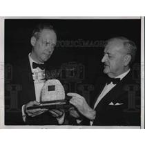 1949 Press Photo Charles A. Lindbergh, Louis Levergne, at a dinner in Washington