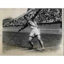 1928 Press Photo Javelin Thrower Creth B. Hines During Olympic Tryouts