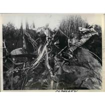 1936 Press Photo Major McCormick Engine Failure in Airplane Picture of Wreckage
