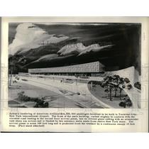 1958 Press Photo Drawing of American Airlines Passenger Terminal