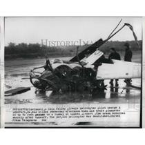 1957 Press Photo Crashed helicopter that kiled George Ashcraft in Ohio