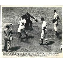 1949 Press Photo Al Kozar, Buddy Lewis, Harold Keller, Washington Nationals