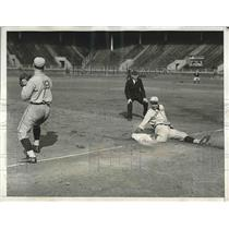 1933 Press Photo Ware of Harvard University Slides Into 3rd Base During 4th