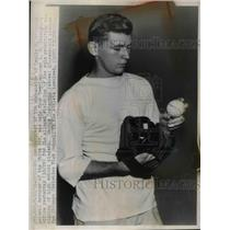1947 Press Photo George Zoeterman Chicago Christian High School Baseball Pitcher