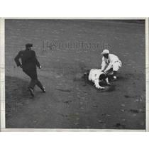 1934 Press Photo Red Rolfe of New York Yankees Out on Steal