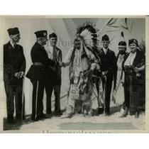 1932 Press Photo Homer McCown, E.J. McKeon, Chief Jim Badroads, W.C. Glass