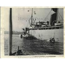1929 Press Photo Ship Being Held in Quarantine Galveston Texas
