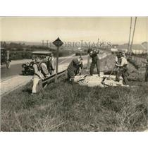 1924 Press Photo Workers remove old billboards along a highway