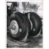 1957 Press Photo The testing of airplane tires - nea56156
