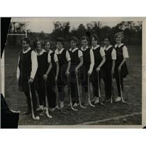 1929 Press Photo Temple University Girl's Hockey Team Line Up Practice Session
