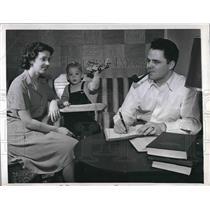 1948 Press Photo Harold T. Marke, Former first U.S.Jet Plane Pilot, studies Law.