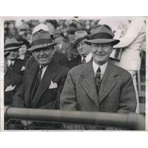1938 Press Photo Mayoer Frank Hague, Gov. Harry Moore Attend Giants Vs Bees Game