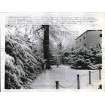 1958 Press Photo Photo Of First Measurable Snow Of Season In Greenville, SC