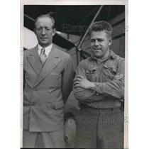 1939 Press Photo Endurance Pilots William Solberg and Homer Seavey with Plane
