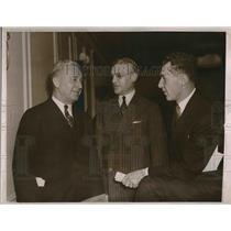 1936 Press Photo William Harridge pres of Amer Lea w/ Ford Frick pres of NAT