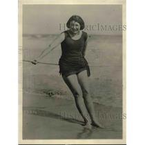 1923 Press Photo Miss Juanita Mattingly on beach in Miami FL