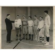 1930 Press Photo Coach Andy Coakley Showing Students During Baseball Tryouts
