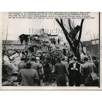 1952 Press Photo 2 Engine Cargo Plane Crashed in Queens Section