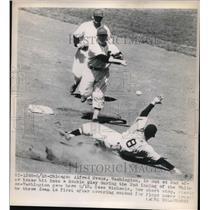 1948 Press Photo Alfred Evans Washington Senators Out at 2nd Baseman - nes00763