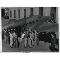 1940 Press Photo Frances Perkins, Lockheed Aircraft Plant