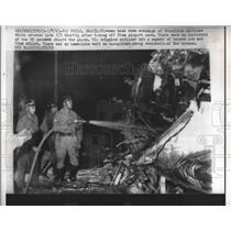 1963 Press Photo Sao Paulo Firemen Hose Wreckage of Brazilian Airliner Crashed