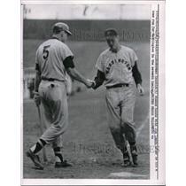 1958 Press Photo Norman Zauchin w/ Jim Lemon after he home run for Washington