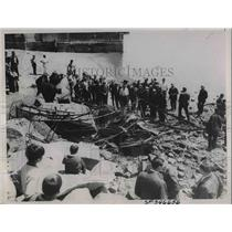 1936 Press Photo Two People Died When Stunt Plane Crashed Near Alameda, CA