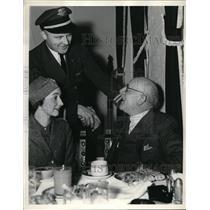1936 Press Photo Frank E. Samuels, TWA Pilot Silas Morehouse, Evelyn Burne