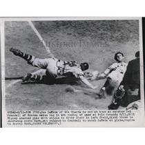 1949 Press Photo Joe LaFata, New York Giants Out at Home, Del Crandall, Braves